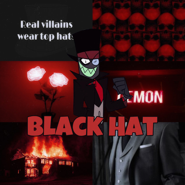#blackhat #villainous  #villainousedits  #blackandred  #roses #fire #demon #tophat  #skull  #freetoedit