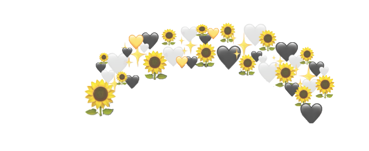 #sunflower #summer #crown #sunflowercrown #heartcrown #aesthetic #hearts #yellow #white #black #sparkle #flower #summer #flowercrown #freetoedit