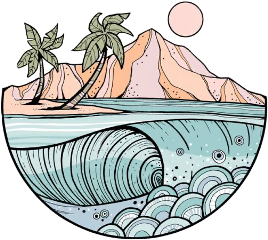 asthetic ocean mountain palmtrees groovy freetoedit