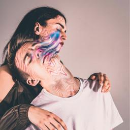 surreal holographic melting manipulation heypicsart couple freetoedit