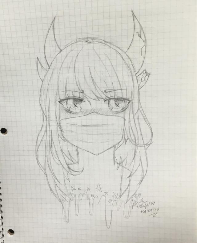 #art #anime #girl #mask #dragon