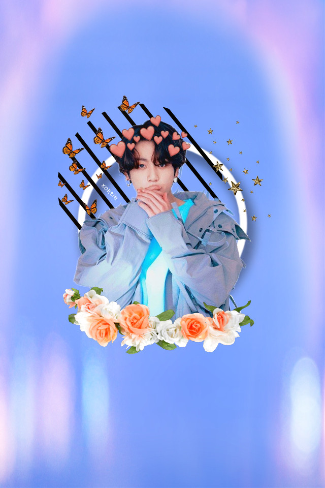 #freetoedit #jeonjungkook #jungkook #kookie #bangtanboys #bangtan #bts #kpop #aesthetic #wallpaper #floral #blue #butterfly