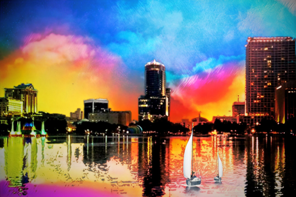 #freetoedit  ......like and follow for more intersting edits! #colorful #buildings #lake #boats #city