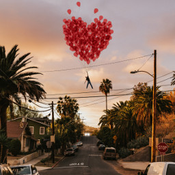 happy valentines day balloon sunset