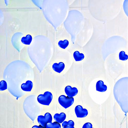 freetoedit blue balloons valentinesday hearts