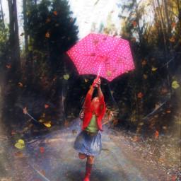 freetoedit leafs wind girl umbrella