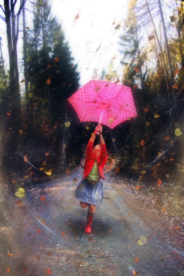 #freetoedit #leafs #wind #girl #umbrella #road #stickers #picsarteffects #madewithpicsart