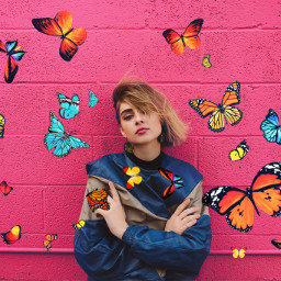 freetoedit edit pink girl butterfly