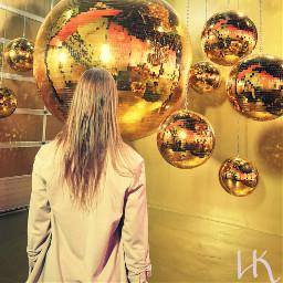 girl gold glitter rose discoball