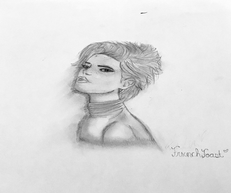 Hello everyone just wanted to post a drawing I did. Sorry I had to take the photo slanted so it didn't show my phone reflection. <3