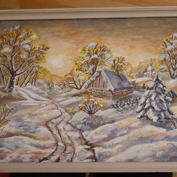 gift present painting winter mypainting