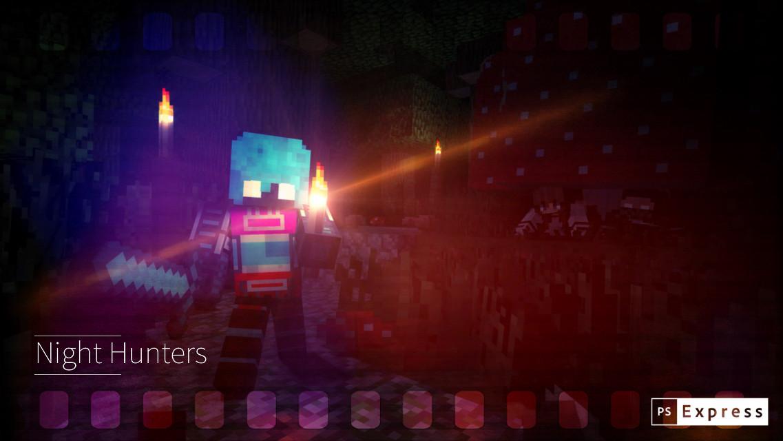#adobephotoshop #night #nature #human #robot #torchlight #lends #sword #mushroom #minecraft