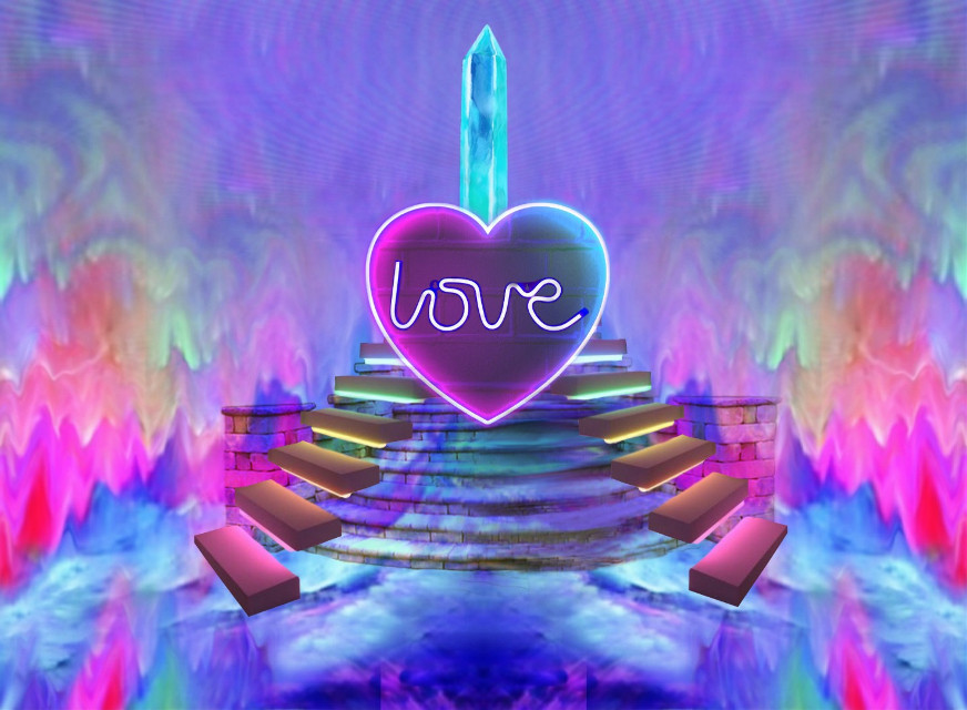 #freetoedit #love #neon #abstract #art #pedestal #crystal #colorful #bright #lovelight #glow