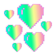hearts pixel neon stickers sticker freetoedit