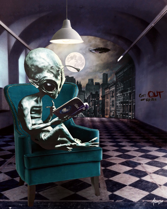 Have a gr8 weekend planet 👋🏻👽👉🏻👾@picsart  Thanks 👋🏻👽👉🏻☕️@brucewaynegacy for the #fte   #freetoedit #alien #readingbook #city #night #wallpaper #hd #alienized #editedwithpicsart