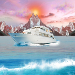 sunsetsky digitalart boating picsart sunsetart freetoedit