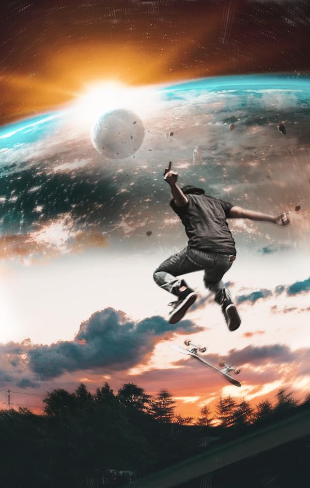 Skateboarding in cosmos ☄️ #freetoedit #madewithpicsart#myedit #myremix#surreal#picsarteffects#planets #cosmos #space #skateboarding #fxeffects #VNYL #photomanipulation @picsart