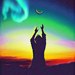 freetoedit moon night polarlights ircdancinginthemoonlight dancinginthemoonlight silhouette
