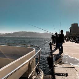 fishing fisherman fish sea sky freetoedit