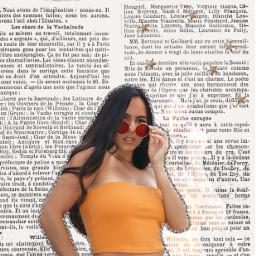 freetoedit remixit girl orange sunglasses