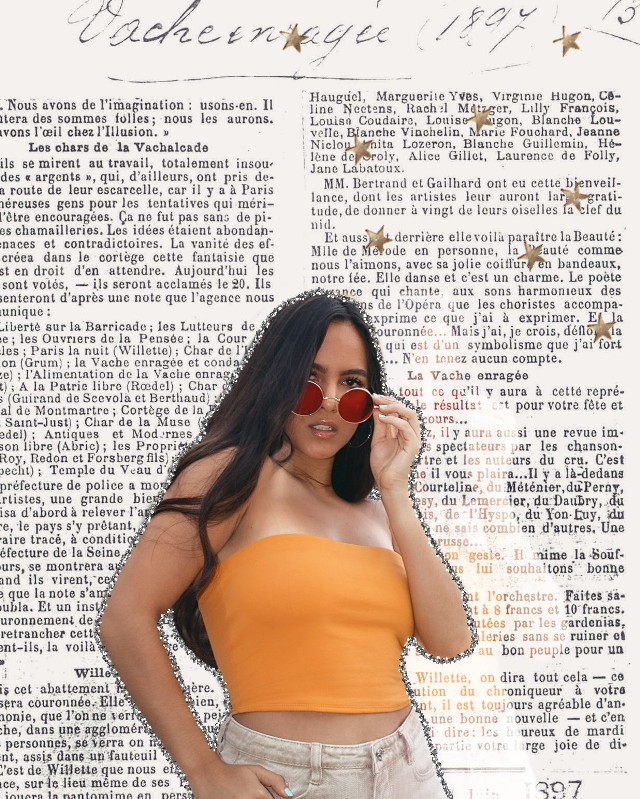 #freetoedit #remixit #girl #orange #sunglasses #newspaper #newspaperbackground #background #stars #glitter #pencil