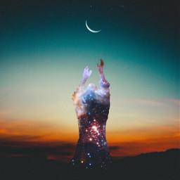 freetoedit picsartchallenge galaxy silhouette myedit ircdancinginthemoonlight