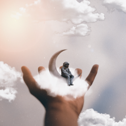freetoedit clouds hand astronaut moon