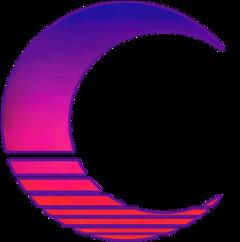 80s crescentmoon purple retro glow freetoedit