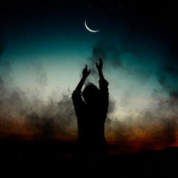 freetoedit black smoke moon sunset ircdancinginthemoonlight dancinginthemoonlight silhouette