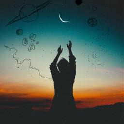 freetoedit night sky moon planets ircdancinginthemoonlight dancinginthemoonlight silhouette