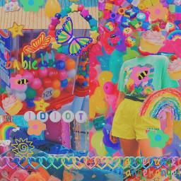 kidcore aesthetic rainbow 2000s retro freetoedit