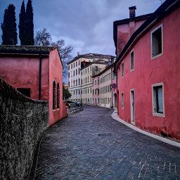 street pink village italy colorful