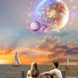 sunset spaceart fantasyart seaside nightscape freetoedit