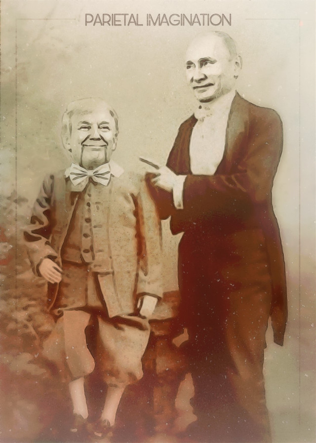Edit by: Parietal Imagination Art  @pa #puppet #trump #putin #russia #freetoedit #vintage #fx #ventriloquist #control #politics #politicalart #vip #madewithpicsart #parietalimagination