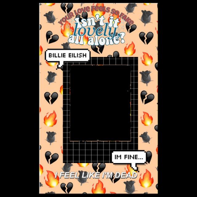 #freetoedit Credits to @funimatestickerssss 💕 #funimate #funimatestickers #sticker #stickers #aesthetic #billieeilish #polaroid #emojibackground #funimateborder #png #textmessage #text #orange #black #gridpolaroid