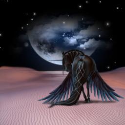 freetoedit night magical unicorn moon