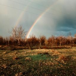 village farm rainbow nature freetoedit
