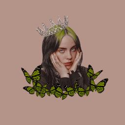 freetoedit billieeilish crown butterfly butterflies
