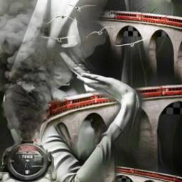freetoedit train tracks nun surreal
