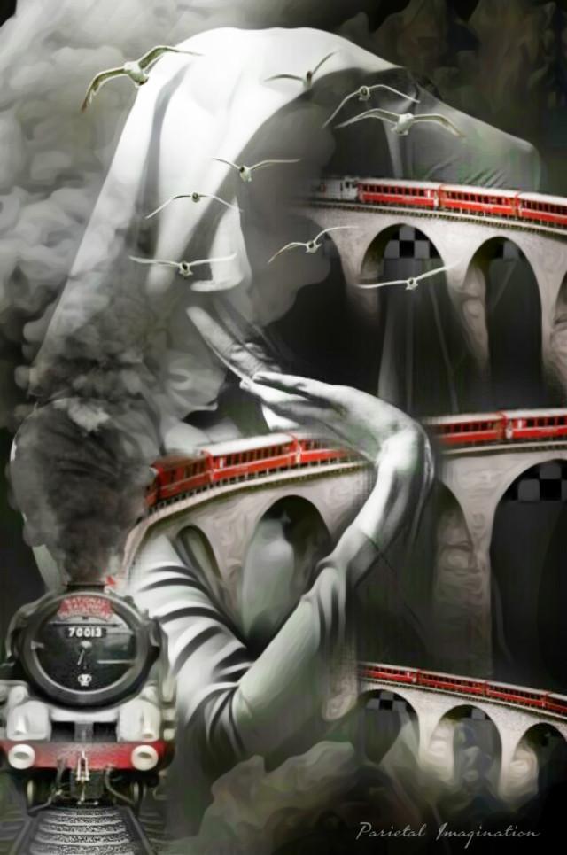 Edit by: Parietal Imagination Art  @pa (Twitter, FB and Instagram) #train #tracks #nun #surreal #freetoedit #darkness #fx #fog #remixofmyremix #vip #madewithpicsart #parietalimagination