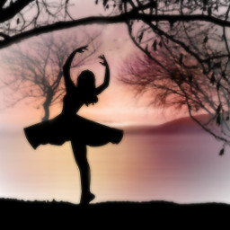 freetoedit silhouettestickers blur sunset