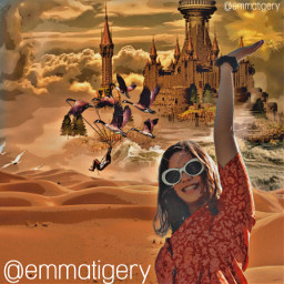 freetoedit girl challenge desert hot sun happy catsle vocation edit summer holidays smiling fantasy