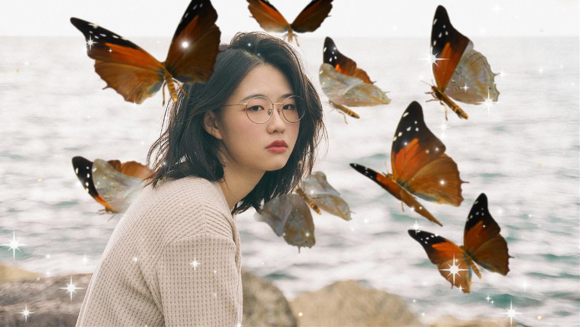 #freetoedit #girl #blackbutterfly #orange