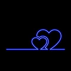 hearts neon love lovely blue freetoedit