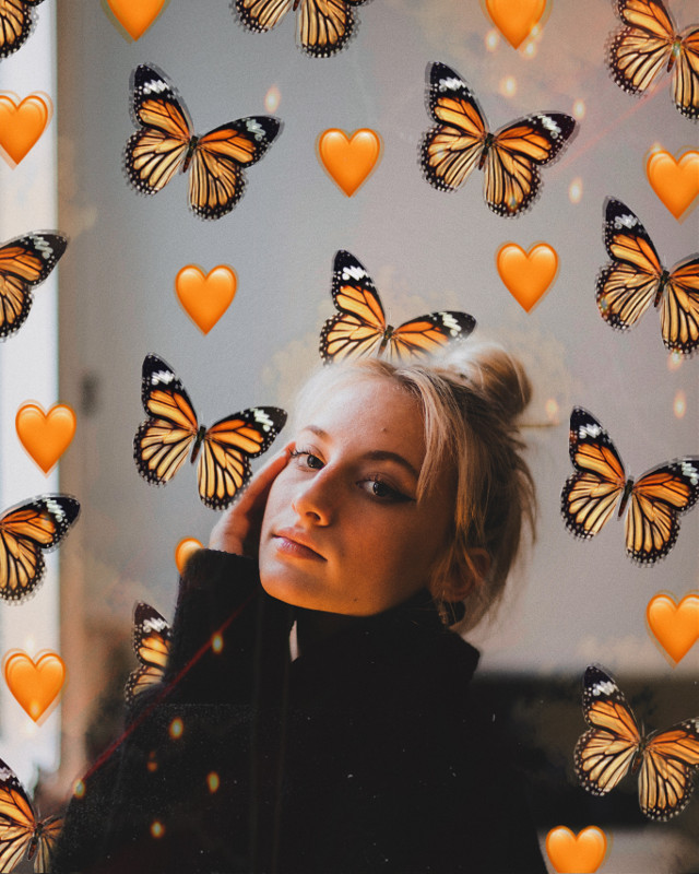 #freetoedit #butterfly #butterflies #emoji #heart #emojibackground #orange #orangeaesthetic