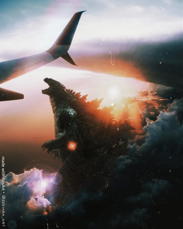 #vintage #godzilla #monster #sky #biganimals   #freetoedit