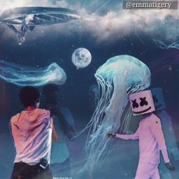 freetoedit read reflection birthday elly marshmello happy shawnmendes jellyfish edit water aquarium photo fantasy moon swimming boat