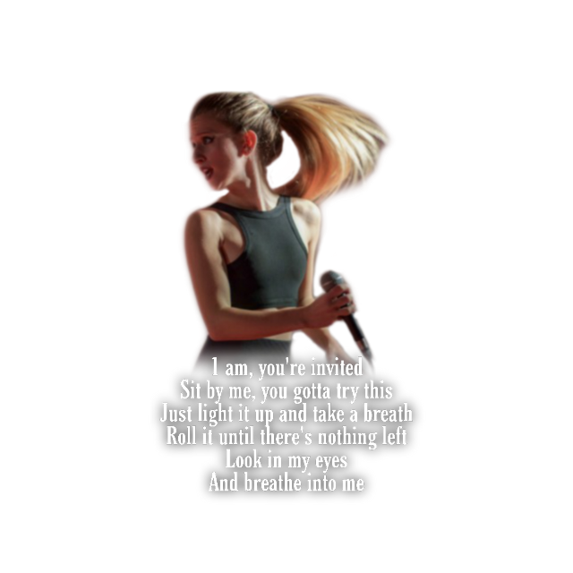 #marianhill #samanthagongol #songlyricedit #newsticker #topsticker #songlyrics #lyrics #song #breatheintome #music #musicians #everyone #needs #to #hear #this #lovely #voice #listentomusic #listentome #thisisbeautiful #realmusic  #nowthisismusic #stickers #stickersfreetoedit #png #pngs #pngstickers #pngsticker #pngfreetoedit #overlay #overlays #overlaysticker #overlaystickers #overlaypng #transparent #transparentoverlay #transparentpng #transparentstickers #transparentbackground #transparents #ftestickers   ☆☆☆☆☆☆☆  FULL SONG:  [Verse 1: Marian Hill] 1 am, you're invited Sit by me, you gotta try this Just light it up and take a breath Roll it until there's nothing left Look in my eyes And breathe into me  [Chorus: Marian Hill] Breathe into me Breathe into me Breathe into me Breathe into me  [Verse 2: Marian Hill] Taste my breath, do you like it? What comes next, you decide it Tease you with my fingertips Play with the haste that's on my lips Hold me closer And breathe into me  [Chorus: Marian Hill] Breathe into me Breathe into me Breathe into me Breathe into me  [Outro: Marian Hill] Breathe, breathe, breathe Breathe, breathe, breathe Breathe, breathe, breathe