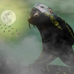 freetoedit ular bulanpurnama moon
