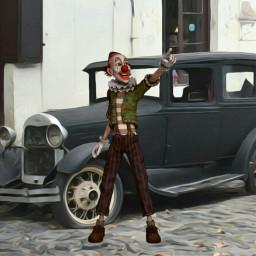 freetoedit steampunk clown oldcar surrealismstyle
